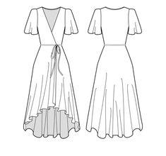 Burda Patterns, Sewing Patterns Free, Free Pattern, Fashion Drawing Dresses, Domestic Goddess, Drawing Clothes, Rave Outfits, Diy Dress, Diy Clothes