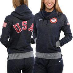 c5974ac12584 Nike USA Winter Olympics Ladies Wool Fleece Funnel Hoodie - Navy Blue