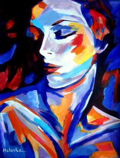 Joy within (Painting),  14x17.8x3 in by Helenka Expressionist Woman s Figure Painting. Media: Acrylic on canvas. Size:14x17.8 in.   (36x45 cm.)