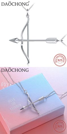 02b3592353 Couple Necklace Bow Arrow Pendant Necklace 925 Sterling Silver #silver # Sterlingsilver #jewelry #jewellery #Necklace #Pendant #couplenecklace #arrow  #bow