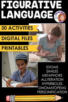 Figurative language is SUCH a fun English language arts topic to tackle with students! Kids love learning about onomatopoeias, hyperboles, idioms, personification, and more because they tend to be so silly and fun to read and write. This resource pack includes a variety of printables or Google Classroom digital versions that you can use to teach and practice figurative language in your upper elementary classroom. You definitely want to click through to grab this ELA activity pack for your class! Writing Resources, Reading Strategies, Reading Activities, Reading Skills, Teaching Reading, Classroom Resources, Learning, Figurative Language Activity, Similes And Metaphors