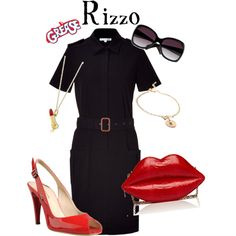 A fashion look from April 2012 featuring Lacoste, leather shoes and man bag. Browse and shop related looks. Sock Hop Outfits, Pin Up Outfits, Movie Outfits, Grease Party, Grease Movie, Rizzo Grease, Grease Outfits, Moda Pinup, Rockabilly