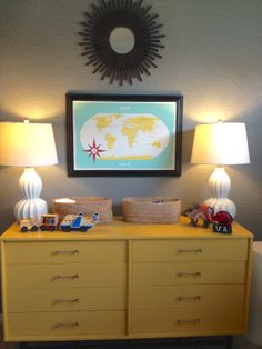 I really want a colored dresser too. :) We have to color it up in other ways since we can't paint :(