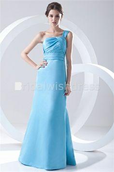 Floor-Length Satin One Shoulder Petite Sleeveless One Shoulder Bridesmaid Dresses