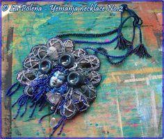 https://flic.kr/p/NeF7VT | Yemanja necklace 2. | Hand made Venetian mask jewelry with vintage sea shells. XL wearable art.