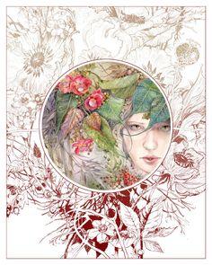 Awakened by puimun on DeviantArt Fleurs Art Nouveau, Motifs Art Nouveau, Art Et Illustration, Illustrations, Art Floral, Portrait Male, Art Fantaisiste, Ouvrages D'art, Leaf Art