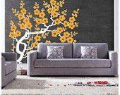 120x110CM Plum Flowers Tree  Nature Vinyl Wall Paper Decal Art Sticker Q127