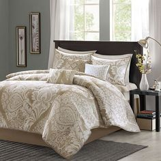 Madison Park Calista 7-pc. Comforter Set.  Running by you to see if you like the lighter colored beige approach.