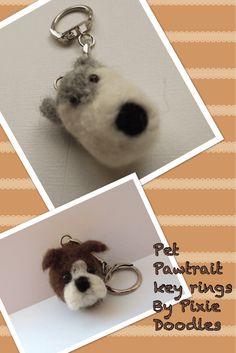 Needle Felted Dog Memorial Portrait Keyring - Custom Made