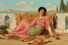 """The Quiet Pet"" John William Godward"