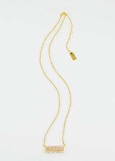 Melanie Auld Pave Cream Druzy Bar Necklace