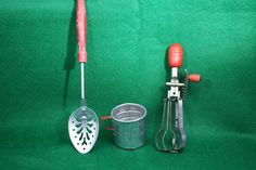 Vintage Toy Kitchen Utensils   Metal  Red Wooden by TheCopperDaisy