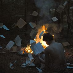 """""""Sometimes, you just want to rip all of the pages out of your own book and burn them. From the article """"Stunning Self-Portraits by a photos),"""" on My Modern Metropolis. Photographs of and taken by Alex Stoddard during a 365 project. Story Inspiration, Writing Inspiration, Character Inspiration, Surrealism Photography, Portrait Photography, Photography Books, Photography Guide, Stunning Photography, Book Burning"""