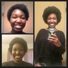 Natural hair growth progress. Big chop, 6 months and then 1 year. One year natural. Afros are beautiful!!