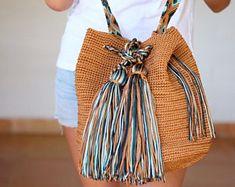 Mexican Crochet Boho Bag / Many colors available / Cross body bag / Boho Bucket Bag / Mexican Colorful Macrame / Ready for shipping Maya, Net Bag, Crochet Cross, Brown Bags, Market Bag, Cotton Bag, Beautiful Crochet, Cross Body, Jeans