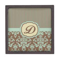 Vintage Pastel Green and Cream D.jpg Premium Trinket Box