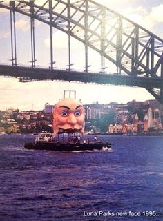 Luna Park's new face about to be installed for the 1995 re-opening. Luna Park Sydney, Sydney City, Sydney Harbour Bridge, Old Pictures, Old Photos, Federated States Of Micronesia, Weird And Wonderful, Papua New Guinea, Sydney Australia