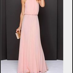 Nwot Pink Pleated Dress