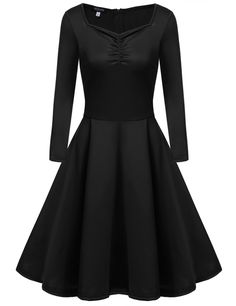 Long Sleeve Swing Square Collar Bust ruched Casual Dresses