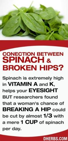 Spinach is extremely high in vitamin A and K, helps your eyesight BUT researchers found that a woman's chance of breaking a hip could be cut by almost 1/3 with a mere 1 cup of spinach per day. #dherbs #healthtips by rhonda367