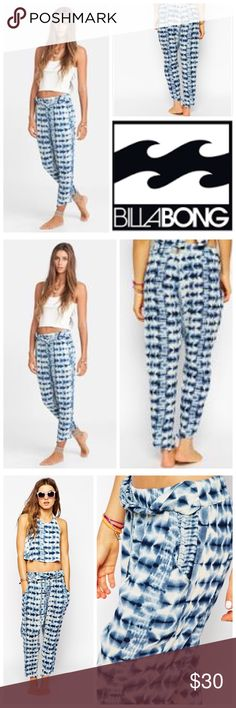 🆕Billabong Turn Away Beach Pants Womens Blue Billabong Turn Away Tie Dye Beach Pants.        100% rayon elastic waist line Billabong Pants