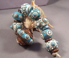 Handmade Lampwork Beads by Mona  Turquoise and by MonasLampwork