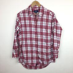 Shop Women's Lauren James White Red size L Button Down Shirts at a discounted price at Poshmark. Description: Lauren James plaid flannel shirt with pockets. Size Large. 100% cotton. Bust is 44 inches, sleeves are 22 inches, length is 29 inches.. Sold by charleigh. Fast delivery, full service customer support.