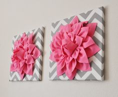 TWO Pink Wall Flowers Bright Pink Dahlia on Gray and by bedbuggs, $66.00
