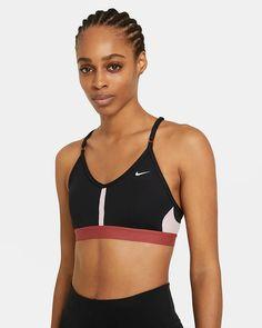 Nike Dri-FIT Indy Women's Light-Support Padded V-Neck Sports Bra. Nike.com Nike Dri Fit, Nike Outlet, Nike Logo, Top Nike, Nike Bras, Sport Nike, Grey Fashion, Workout, Kids Fashion