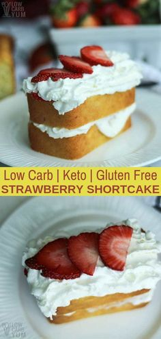 Want to make an easy low carb strawberry shortcake? Just add strawberries and a little whipped cream to a simple almond flour pound cake. #sugarfree #lowcarb #keto #ketorecipe #weightwatcher #Atkins #strawberry #strawberryshortcake #glutenfree | LowCarbYum.com via @lowcarbyum Cheesecake, Mini, Desserts, Food, Cheesecake Cake, Tailgate Desserts, Cheese Cakes, Deserts, Eten
