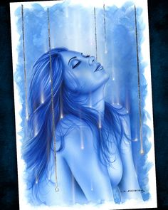 """2005 - """"Moonlight Melody"""" - #acrylic #silverleaf on #illustration board - @kimberlyfisher1 This was a demo I did in a class I taught on #fantasy #portrait #painting . #cobaltblue #ultramarine #mermaid #raindrops #sparkling #replenish #rejuvinate #ascend #spiritedaway #anthonyguerra #theinsightfulartist #artforsale #portraitpainting #instaportrait #topless #beautiful #peaceful #goodkarma #goodjuju #relief #startingover #acrylicportrait #instaart #instagood @artworks_portrait…"""