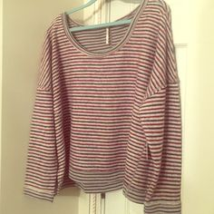 FREE PEOPLE TOP Inside Out Sweatshirt. Plum, Navy & Gray Stripes. Classic Free People Relaxed Style. Free People Tops