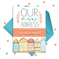 NEW ADDRESS Moving Announcement // Housewarming Party // New Address Announcement Card // We've Moved Card by ohsoparty on Etsy https://www.etsy.com/listing/249449775/new-address-moving-announcement