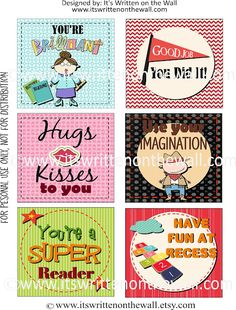 {Freebie} Love notes for your child's Lunchbox--Get all 30 here!