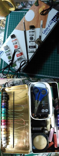 DIY sewing box with a tin box, shoelaces and some glue.