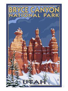 Bryce National Park, Utah, Winter Scene Art at AllPosters.com