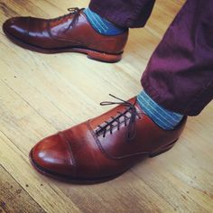 Purple pants and socks