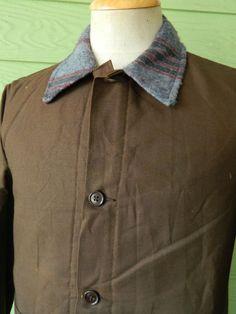 Vtg 60s French Brown Work Chore Workwere Heavy Cotton Blanket Liner Jacket 36