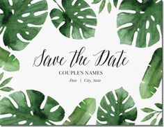 """Green Tropical Leaves Horizontal Flat Save the Date Cards - 5.5""""x4"""", Nature Green Horizontal Flat Save the Date Cards - 5.5""""x4"""" 