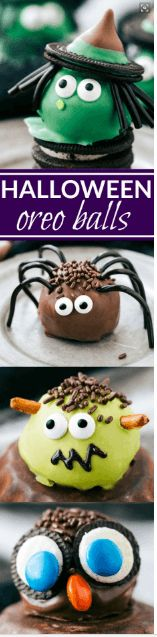 Four different ways to dress up an oreo ball for Halloween -- a witch, spider, frankenstein, and an owl. Easy and delicious treats that are perfect for a party! Recipe via chelseasmessyapro. Shared by Where YoUth Rise Halloween Snacks, Halloween Oreos, Halloween Baking, Halloween Goodies, Halloween Cupcakes, Halloween Themes, Halloween Party, Halloween Recipe, Halloween Baskets