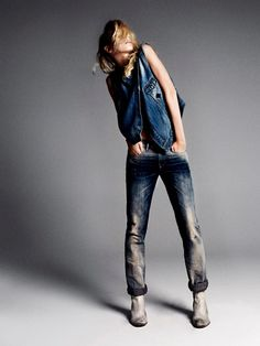Diesel jeans. Just please burn the boots and throw them away.  I'll take the denim.