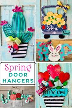 Paint Your Own Spring DIY Door Hanger! Framed by Sarah DIY Craft Kits with Wood Door Hanger Cutout - Wooden hanger Diy Wood Signs, Painted Wood Signs, Spring Door, Spring Sign, Craft Kits, Diy Craft Projects, Diy Door, Easy Diy Crafts, Door Hangers