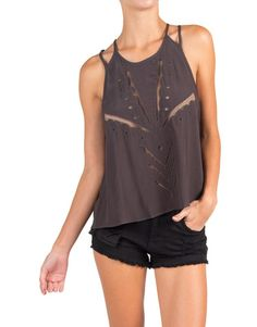 Lush Clothing - Flowy Mesh Detailed Double Strapped Tank - Charcoal | Tops | 2020AVE