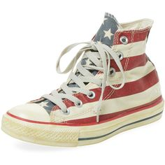 Converse Women's Chuck Taylor All Star Rummage Flag Hi-Top - Size... ($49) ❤ liked on Polyvore featuring shoes, sneakers, multi, laced up shoes, star shoes, laced shoes, converse high tops and high top sneakers