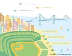 "AT and T Park Art Print 11""x14"" - San Francisco, Giants, California"