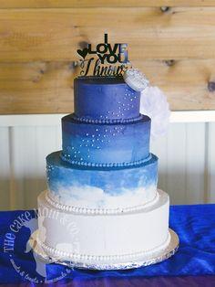 Watercolor ombré fade Star Wars wedding cake