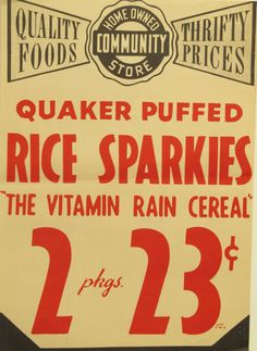 Original Vintage Country Store Quaker Rice Sparkies by HodesH, $20.00