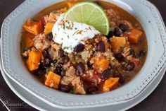 A hearty, chili loaded with good for you ingredients - colorful sweet potatoes, protein rich quinoa, fiber rich black beans, and antioxidant rich tomatoes.