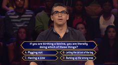 Friday, will Justin Mora be birthing a bovine over this question on an all-new #MillionaireTV? One of these witty sayings is the correct #FinalAnswer, and it could be worth a lot of cash for Justin. Don't miss Friday's show with host Terry Crews and find out if Justin has a witty response. Go to www.millionairetv.com for local time and channel to watch!