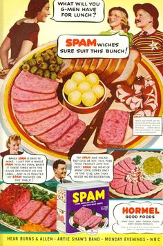Eighty years ago, Hormel Foods introduced a simple, canned meat product called Spam. It would go on to become one of the greatest marketing success stories of all time. Retro Advertising, Retro Ads, Vintage Advertisements, Vintage Ads, Vintage Food, Retro Food, Vintage Images, 60s Food, Weird Vintage